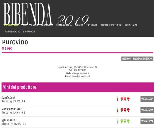I vini Purovino recensiti sulla Guida BIBENDA 2019
