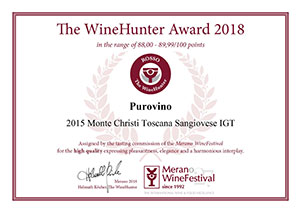 MONTE CHRISTI 2015 – Sangiovese Toscana IGT received the prestigious The WineHunter Award 2018.