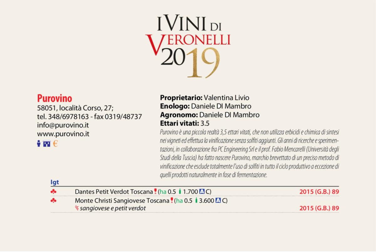 I vini purovino recensiti sulla Guida Oro I vini di Veronelli 2019.